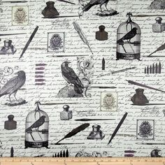 Office? Michael Miller Nevermore Laminated Cotton Edgar White Fabric By The YD by Michael Miller Fabrics, http://www.amazon.com/dp/B00CPSP0EG/ref=cm_sw_r_pi_dp_5Mecsb1RMGNYZ
