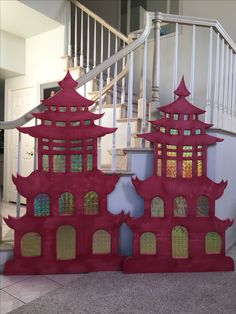Magalie Sarnataro's props. Asian pagoda  : foam board cutout,  red paint, gold foil paper taped on the back... Will be outlined with LED lights Asian themed party