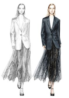 Alessia Zambonin - Istituto Marangoni Fashion Illustration, sketch and rendering #DKNY #Valentino #fashionsketch #womanfashion #fashiondrawing #pantone #copic #fashionillustration #fashionmodel #girl #blazer #pinstripe #jacket #lace #tulle #Transparency #seethrough