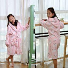 Kid Bathrobes Coral Bath Robe Fleece Cartoon Bath Suits Child Sleepwear Robes