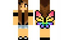 Minecraft skin: Brown-Haired Rainbow Butterfly Wings Girl