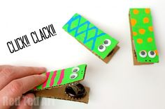 Easy Bottle Top Click Clack Toys - make your own Musical Instruments