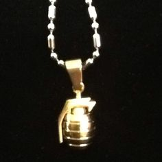 "Exclusively on BourgeoisCo for the Holidays | ""BOMB"" pendant & necklace stainless steel $40"