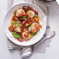 Scallop Skillet with Bacon, Edamame, Basil, and Creamy Grits | Coastalliving.com