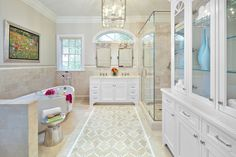 Get inspired by Traditional Bathroom Design photo by Clean Design Partners. Wayfair lets you find the designer products in the photo and get ideas from thousands of other Traditional Bathroom Design photos. Home Design, Clean Design, Floor Design, Wall Design, Contemporary Bathroom Designs, Contemporary Design, Traditional Bathroom, Bathroom Flooring, Beautiful Bathrooms