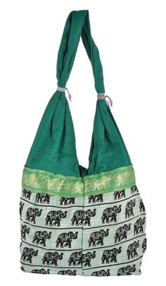 Cotton Totes – Shoulder Bag ,Reversible Tote Bag ,Green Bag – a unique product by IndianCraftPalace on DaWanda