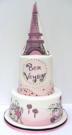Hand painted, Paris cake