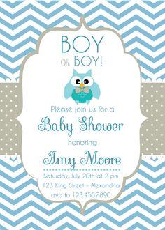 Invitación para Baby Shower. Con búho. por Pipetua en Etsy                                                                                                                                                     Más