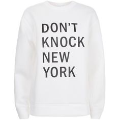 DKNY Don't Knock New York Sweatshirt ($280) ❤ liked on Polyvore featuring tops, hoodies, sweatshirts, dkny sweatshirt, neoprene sweatshirt, neoprene top, white sweatshirt and relaxed fit tops