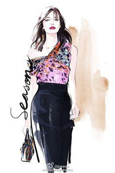 堆糖-美好生活研究所 Fashion Illustrations, Illustration Fashion, Dress Design Drawing, Drawing Techniques, Fashion Outfits, Womens Fashion, Female Characters, Designs To Draw, Cute Drawings