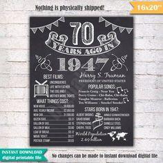 70ste verjaardag schoolbord Poster teken 70 jaar geleden