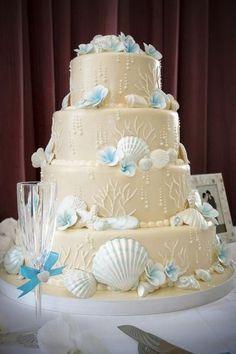 Exotic Beach Wedding Dresses | ... -wedding-cake-beach-theme-4-tier-ivory-sand-blue-tropical.original