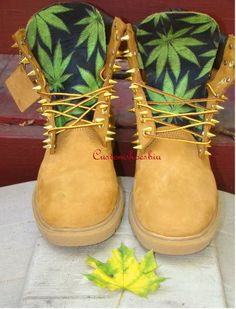 Custom Gold Studded Spiked Timberland Boots by Customshoesbiu