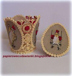 To co robię i co lubię: Quilling z haftem-jajo i świecznik z szalonymi kur...