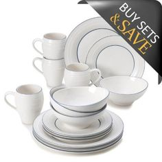 Mikasa® Swirl Banded 16-Piece Dinnerware Set in Blue - BedBathandBeyond.com