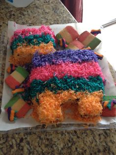 Cinco de Mayo (actual) pinata cake filled with peanut butter m&m's