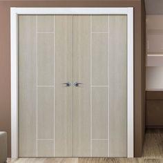 JBK Nuance Viridis Cream Flush Door Pair, Pre-finished. #elegantmoderndoor #natureinspireddoor #contemporarydoorwithwoodgrain