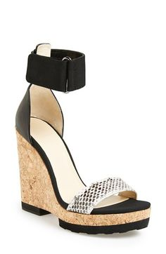 """Free shipping and returns on Jimmy Choo 'Lottie' Platform Wedge Sandal (Women) at Nordstrom.com. <p><B STYLE=""""COLOR:#990000"""">Pre-order this style today! Add to Shopping Bag to view approximate ship date. You'll be charged only when your item ships.</b></p><br>A snake-embossed strap and bold cork wedge extend the retro sophistication of a striking ankle-strap sandal."""