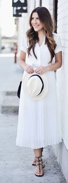 #spring #summer #outfitideas | White Top + White Pleated Midi Skirt | Stephanie Sterjowski
