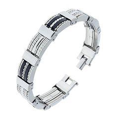 "Yantu Mens Stainless Steel Rubber Bracelet Length 7.87""-8.66"" YANTU http://www.amazon.com/dp/B00OPTIAPO/ref=cm_sw_r_pi_dp_z2Anvb16JJHXW"