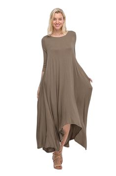 Beautiful drape loose fit design dress, featuring side pockets, long sleeve, soft flowy jersey feel material. Perfect to dress up with a belt and boots or flats for a casual day.  Beautiful Drape Loose Fit Design-PLEASE NOTE: Item runs on the L...