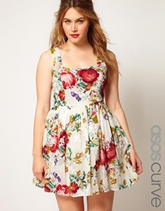 ASOS CURVE Dolly Skater With Floral Embroidery
