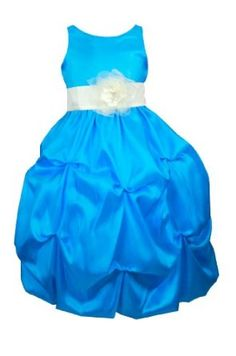 Bella Flower Girl or Party Dress in Turquoise Clouds of Taffeta