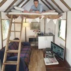 Tom Rawstorne celebrated the completion of his flat pack house by settling down to a microwave meal and a James Bond film inside Tiny House Cabin, Tiny House Living, Tiny House Design, Tree House Designs, Tiny Cabins, Shed Plans, House Plans, Summer House Interiors, Ikea Bookcase