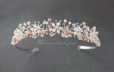 Bridal Tiara of Opal Crystal and Pink Pearls - Cassandra Lynne Wedding Tiaras, Swarovski Crystal Beads, Bridal Tiara, White Opal, Bridal Accessories, Stones And Crystals, Pink Pearls, Glass Beads, Headpiece