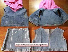 ARTESANATO COM QUIANE - Paps,Moldes,E.V.A,Feltro,Costuras,Fofuchas 3D: Reciclagem jeans! Faça um colete infantil