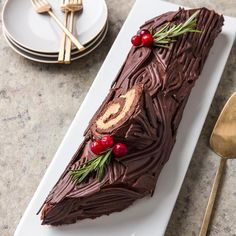 Yule Log or chocolate roulade, is a showstopper, with velvety texture and not-too-sweet chocolate flavor. Christmas Sweets, Noel Christmas, Christmas Desserts, Christmas Baking, Xmas, Christmas Cakes, Baking Games, Chocolate Roulade, Cake Roll Recipes