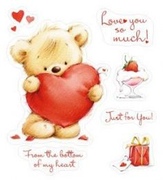 ScrapBerry's Set Of Clear Stamps 10x11 cm My Little Bear Hearts For You (SCB071204b)