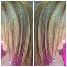 Blonde highlights and lowlights with pink peekaboos