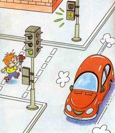 Про правила дорожного движения. Иллюстрация к сказке Car Racing For Kids, Safety Pictures, Transportation Crafts, Happy Holi, Learning Arabic, Mothers Day Crafts, Book Illustration, Flower Pots, Preschool