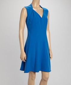 Look what I found on #zulily! Blue Sleeveless Fit & Flare Dress by Shelby & Palmer #zulilyfinds