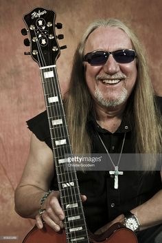 Guitarist Mick Box of Uriah Heep posed in studio on March 6, 2009 in London.