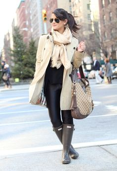 Trench+Coat++Hunter+Boots++,+Burberry+in+Trenches,+LUIS+VUITTON+in+Scarves+/+Echarpes,+Gucci+in+Bags,+American+Apparel+in+Pants,+Hunter+in+Boots