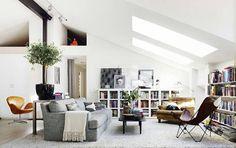 Skylight in light white modern Scandinavian Swedish homes.