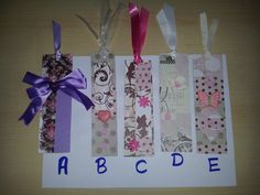 bookmarks made with paper and ribbons by Snailwithamail on Etsy