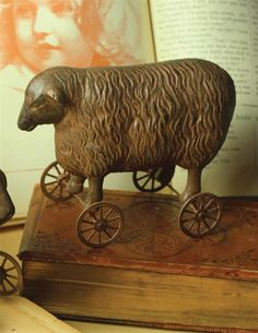 Adorable Victorian Style Painted Resin Sheep on Wheels Figurine Toys Decor,5''H. #Handmade #victorian