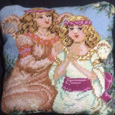 Needlepoint Pillow Angels Victorian Romantic Heavenly Holidays Rose Green Blue #Unbranded