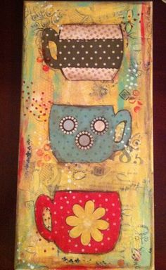 Mugs  #Mixed media canvas  different colour background, use cricut images for mugs