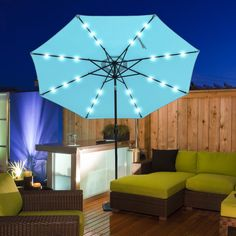 Sundale Outdoor Solar Powered 24 LED Lighted Outdoor Patio Umbrella with Crank and Tilt, 10 Feet, Blue #boutiquegiveaway #browniegiveaway #cartels7daysgiveaway