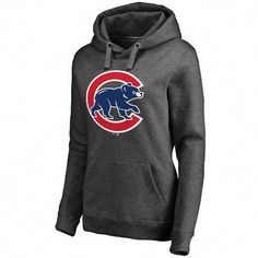 Women s Charcoal Chicago Cubs Primary Logo Pullover Hoodie   ChicagoCubsBaseball Chicago Cubs Hoodie 05d40e0b059
