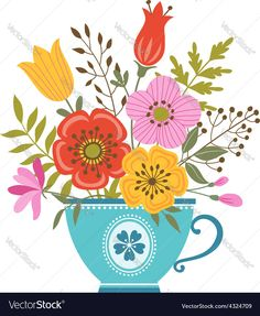 Bunch of flowers in blue teacup. Download a Free Preview or High Quality Adobe Illustrator Ai, EPS, PDF and High Resolution JPEG versions.