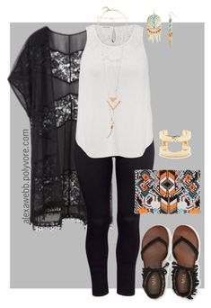 """Plus Size Fashion - Lace Kimono"" by alexawebb ❤ liked on Polyvore featuring H&M, maurices, Stella & Dot, DailyLook, Aéropostale, Atmos&Here, J.Crew, Aqua, outfit and kimono #FashionTrendsPlusSize"