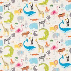Animal Magic Tutti Frutti / Chalk Fabric by Scion - 120467 - British Made Interiors