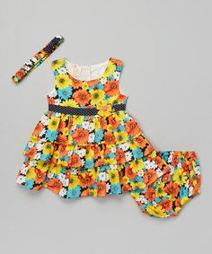 Love this Orange & Black Floral Dress & Diaper Cover - Infant by the Silly Sissy on #zulily! #zulilyfinds