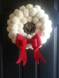 DIY winter pom pom wreath, Anthropologie knock off | Flickr - Photo Sharing!