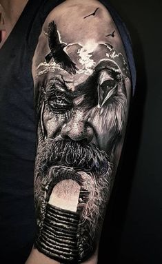 Realistic tattoos with morphing effects by Benji Roketlauncha - Top tattoo . - Realistic tattoos with morphing effects by Benji Roketlauncha – top tattoos – - Norse Mythology Tattoo, Norse Tattoo, Raven Tattoo, Viking Tattoo Sleeve, Viking Tattoos, Sleeve Tattoos, Viking Tattoo Design, Hai Tattoos, Body Art Tattoos
